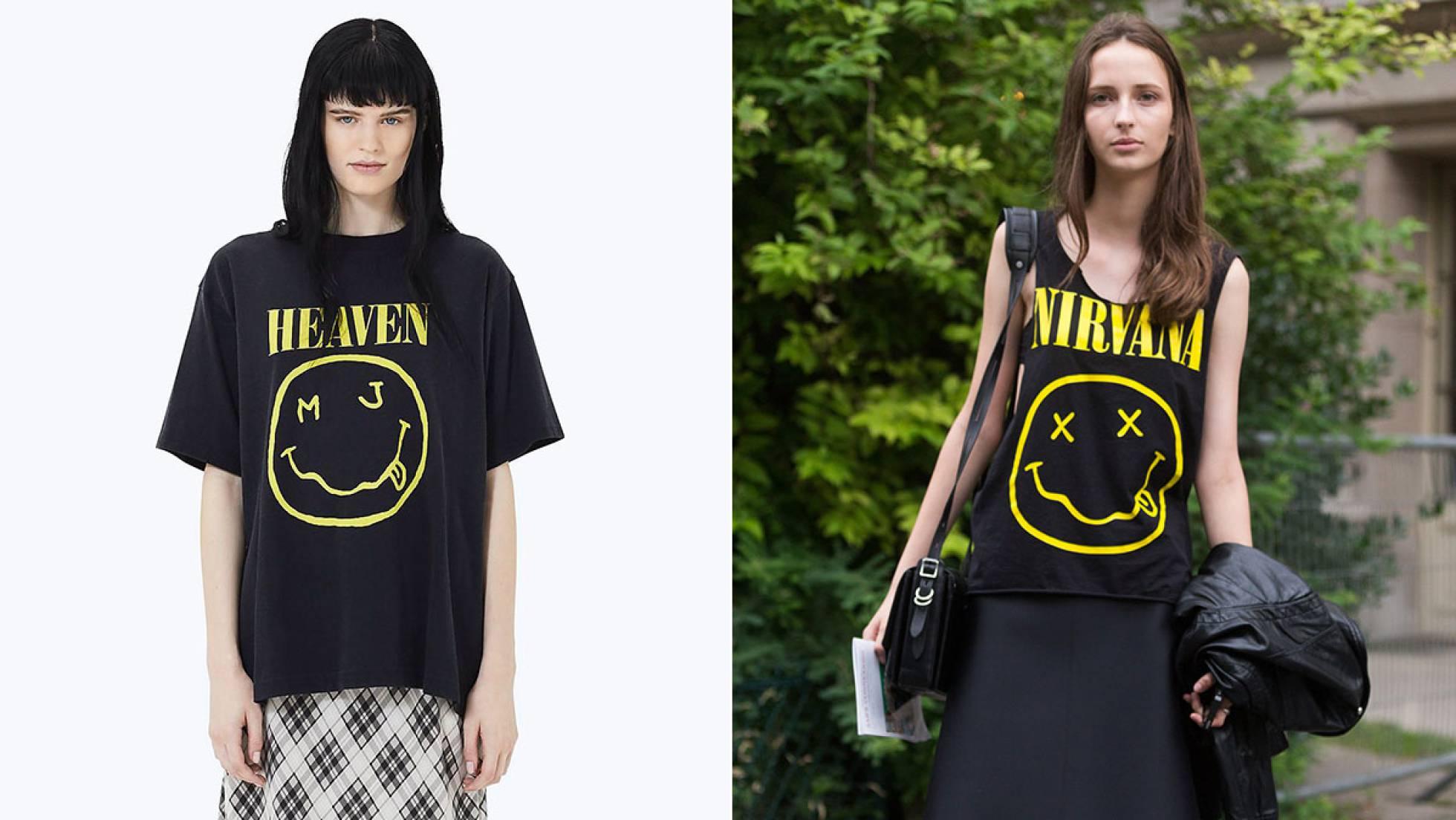 La camiseta de Marc Jacobs y, a la derecha, una modelo con la camiseta original de Nirvana. MARC JACOBS / GETTY