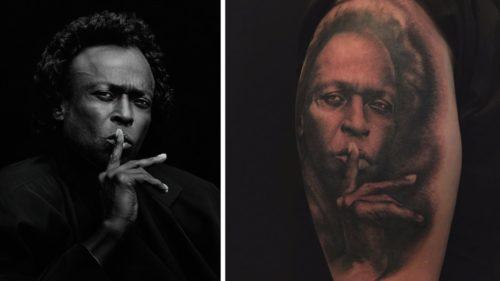 Fotografía de Miles Davis autoría del Fotógrafo Jeffrey B Sedlik y Tatuaje de la fotografía.